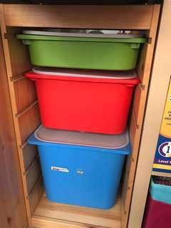 Ikea 玩具櫃 收納櫃 3個連9個儲物箱