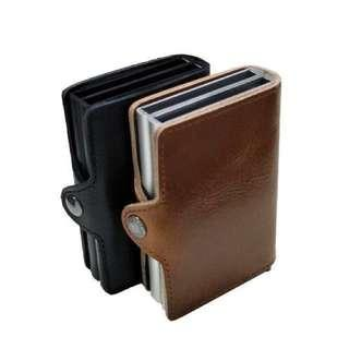 Anti RFID 2 card holders genuine leather wallet