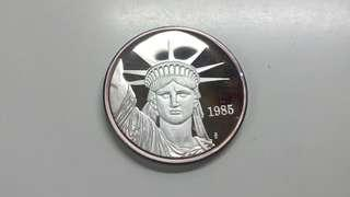 UNC 1985 自由神像 美金 999-1安士 純銀幣
