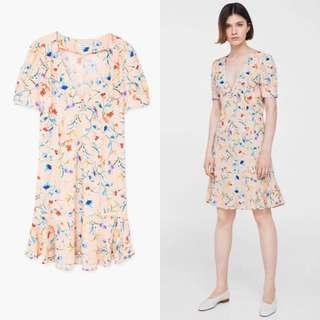 Mango floral button down dress