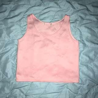 Pink Neoprene Crop Top
