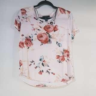 F21 pink floral blouse