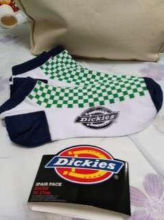 Dickies綠格三對裝船襪