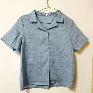 藍色格紋襯衫 韓系 文青 #十月女裝半價