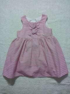 Preloved Mothercare Pink Striped Dress for 3-6 Months Baby Girl