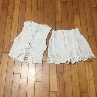 🚚 二手 小瑕 棉麻鏤空雕花背心高腰褲套裝 約M