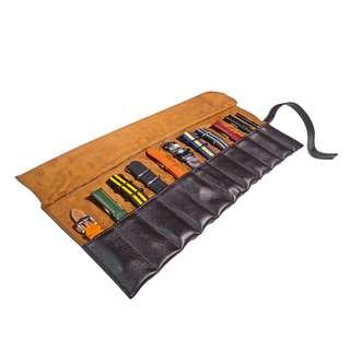 🚚 Leather Strap Roll in Brown (10 Slots)