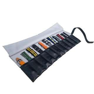 🚚 Leather Strap Roll in Black (10 Slots)