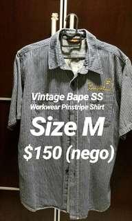 VINTAGE A BATHING APE BAPE WORKWEAR NAVY PINSTRIPE S/S SHIRT