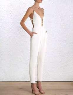 Zimmermann Link Crepe Jumpsuit in Cream - Size 1 (Aus 10) RRP $475