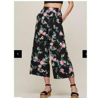 Miss Selfridge Floral Print Cropped Wide Leg Trousers