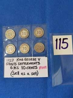 1927 KING GEORGE V 10 CENTS COINS.    60%SILVER.   6 PIECES  FINE GRADE.
