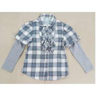 Long Sleeves Shirt Girls / Long Sleeve Button-Down Plaid Ruffle Top