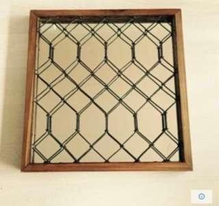 Mirror, antique grilles and teak