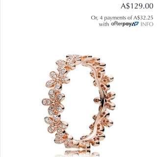 RRP $129 Genuine Pandora Rose Gold Ring Size 52