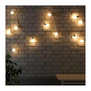 IKEA STRÅLA lighting chain with 12 frosted bulbs, in/outdoor