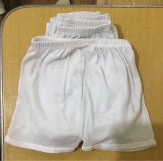 5 pcs. Plain white shorts for infants