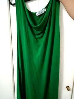 Dark Green Asymmetrical Maxi Dress Sleeveless one shoulder