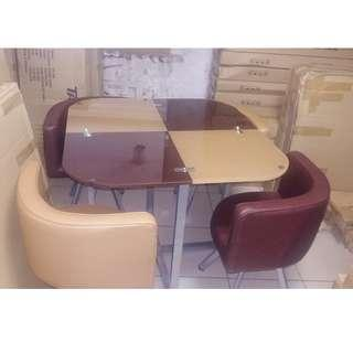 Glass Dining Set 4Seater (maroon/Browm)