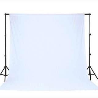 Heavy Duty 2.8m x 3m Studio Backdrop Stand + White Muslin Backdrop Cloth Bundle Set