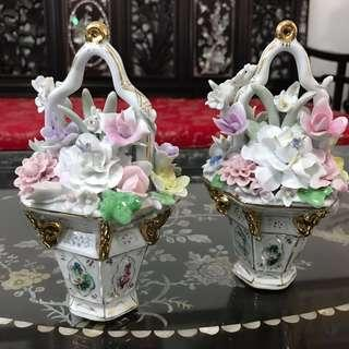 Vintage Chinese 6- sided porcelain flower bouquet