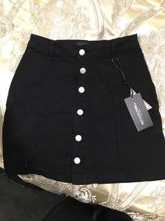 PLT Black Denim Skirt