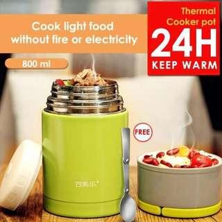 Thermal Cooker Pot 800ml With Steam Release Thermos Vacuum