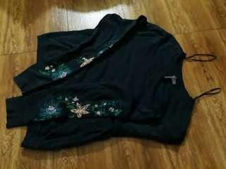 H&M Navy Blue Embroidered Sweater