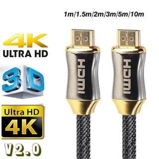 3D 4K HD UHD HDMI Cable v2.0 2160p Gold Plate Head 1/3/5/10 Meters