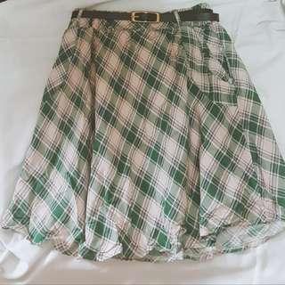 Jellybean belted geometric skirt