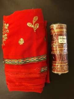 Saree Cloth & Bangles (Red)