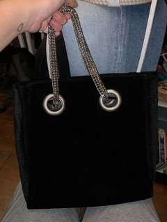 Black velvet handbag with chain