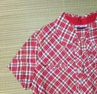 Red checkered polo