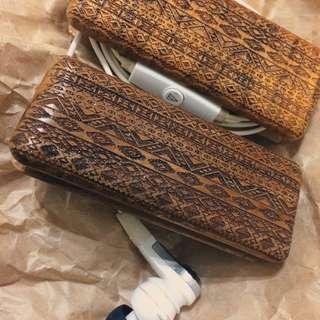 🚚 手工 木製 捲線器 變形蟲 圖騰 復古 耳機 充電線