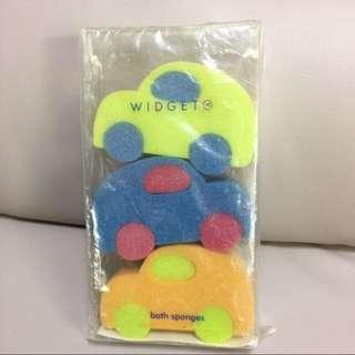 全新! 綠藍橙三色 車仔造型 浴室海棉 Bath sponges 一盒3個