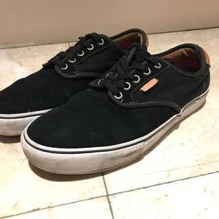 Vans Skateboarding Shoe Leather Low Top/Black velvet-like material