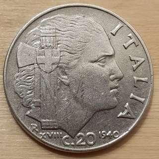 1940 Italy King Vittorio Emanuele III 20 Centesimi Coin