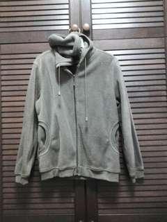 Unisex Army Green Hooded Fleece Jacket