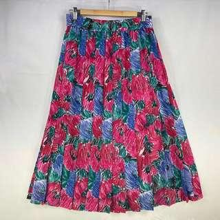 Vintage Style A Line Pleated Skirt Mid Calf Retro Rockabilly Pink