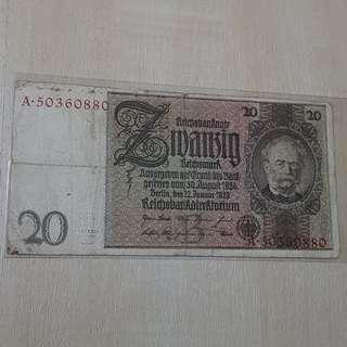 1924 Germany 20 Marks Banknote