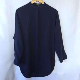 TOPSHOP navy blue top with slice back detail