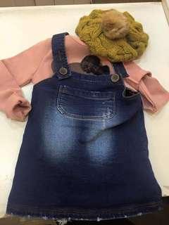🚚 正韓女童背心裙牛仔厚棉