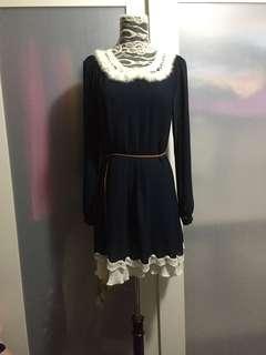 Navy blue Chiffon dress ( cony hair collar 兔毛領),no bargaining