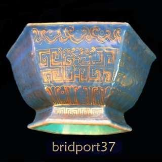 Mid 19thC Chinese hexagonal high footed bowl