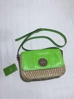 Kate Spade crossbody rattan with green leather flap