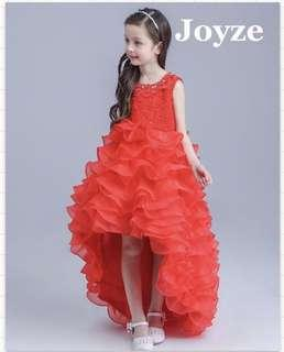 Kids Long Dress Fluffy Red Gown (Red Fluffy)