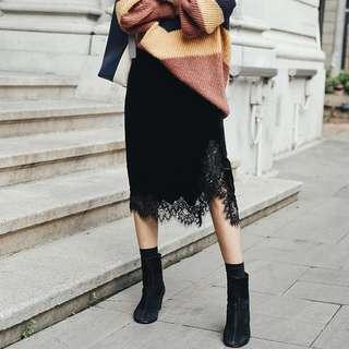 🚚 歐美黑色絲絨蕾絲半身裙