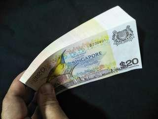 100pc running number  UNC old sg $20 notes