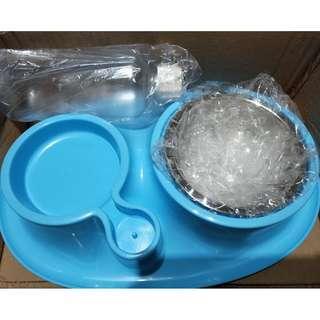 寵物用品 自動續水寵物食盆 寵物水盆 寵物餵食容器 貓狗可用 附不鏽鋼碗 虹吸頻蓋 送貓咪小號指甲剪