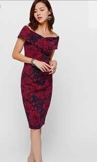Love Bonito Decida Floral Ruched Off Shoulder Midi Dress BNWT